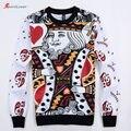 Sportlover 2016 Mais Novo Camisola 3d mulheres/homens hip hop Jogando cartas Rei/Rainha imprimir hoodies sudaderas roupas Harajuku