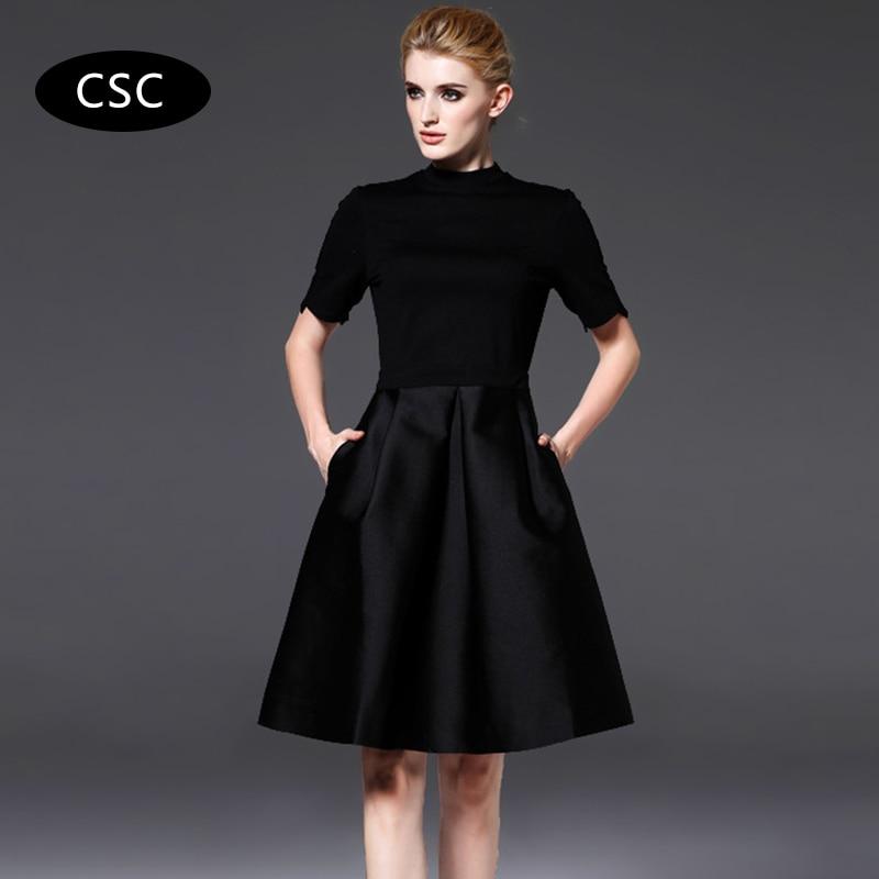 Summer Party Dress Women Short Sleeve Little Black Dress Elegant