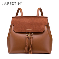 LAFESTIN Leather Tasse Backpack Women Vintage Backpack Girls School Bags Back Backpack Mochilas