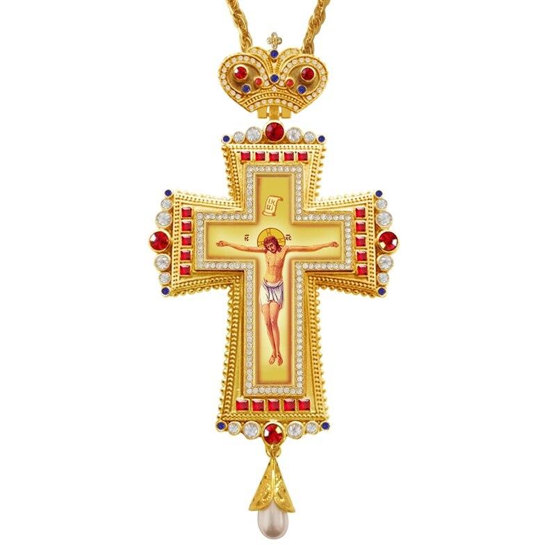 Collier croix pectorale cristaux Zircons rouges bijoux crucifix grec orthodoxe chaîne croix pectorale artisanat religieux