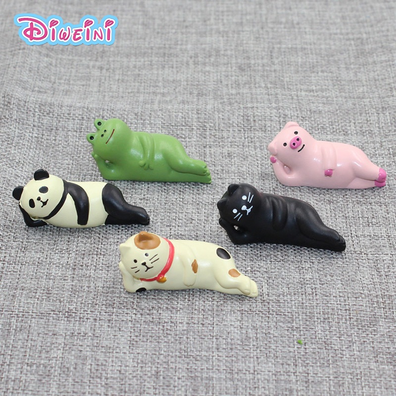 Lying Frog Pig Panda Decole Cat Animal Model Miniature Figurine home Garden Wedding action Figures Decoration Girl toy gift