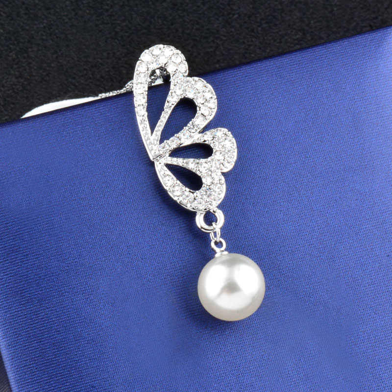 SINLEERY Charm Simulated Pearl Jewelry Sets Rhinestone Hollow Butterfly Wing Necklace Earrings For Bridal Wedding TZ229 SSH