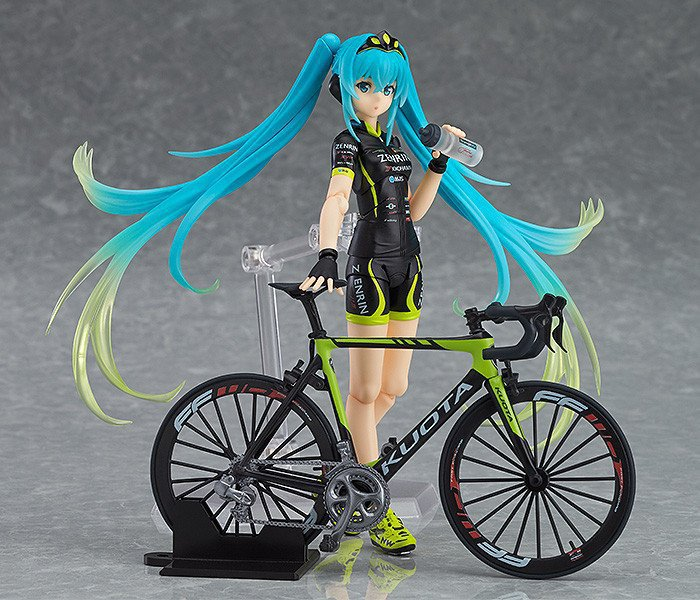 цена на Anime Hatsune Miku figma 307 Racing Miku 2015 TeamUKYO Support ver. PVC Action Figure Collectible Model Doll Kids Toys 14CM