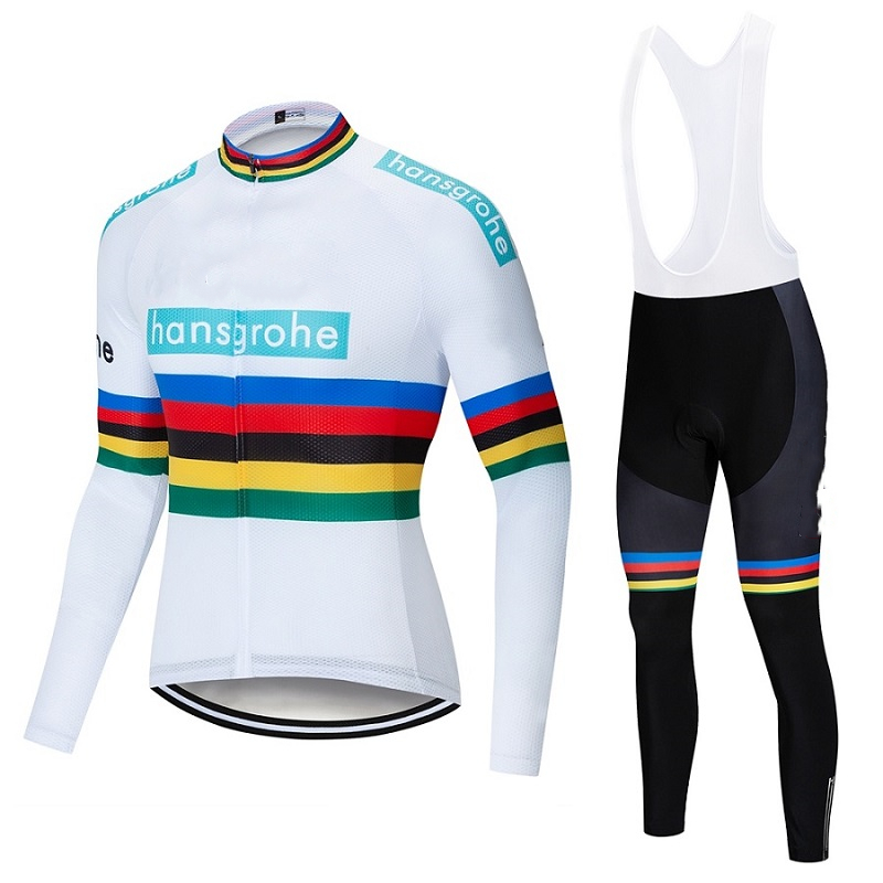 2019 Hansgrohe Team Autumn Thin Long Sleeve Clothes Set Mens Cycling Jersey Bib long Bike Bicycle Ropa Ciclismo Bike Clothing
