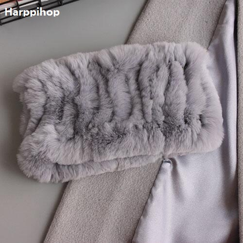 Harppihop Women Real Fur Handmade Stretch Fur Scarf Knit Genuine Rex Rabbit Fur Headbands Girls Natural Fur Ring Scarves Winter