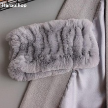 Harppihop Women real fur Handmade Stretch fur scarf Knit Genuine Rex Rabbit Fur Headbands Girls Natural Fur Ring Scarves Winter