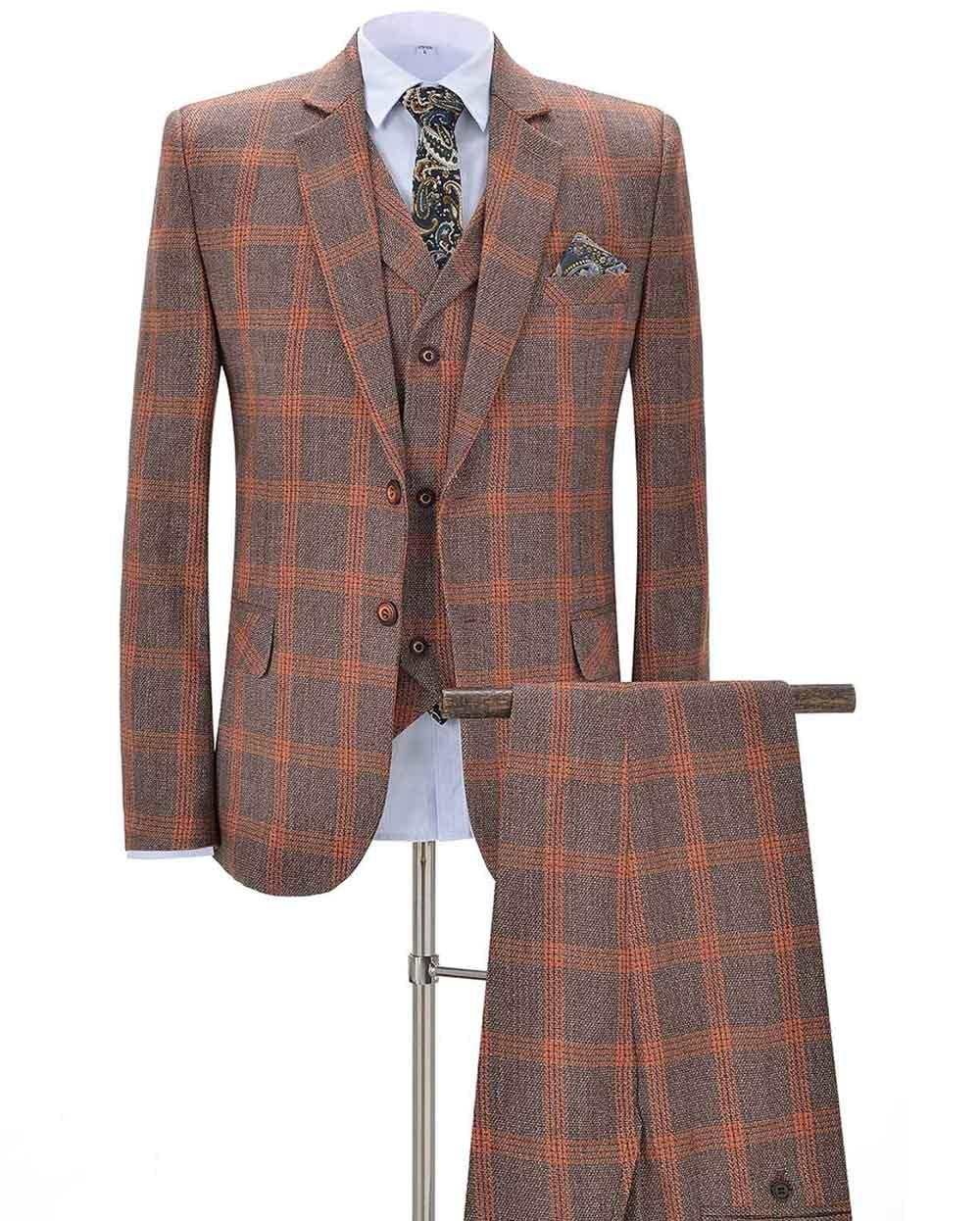 2020 New Orange Men's Plaid Suits 3 Pieces Formal Notch Lapel Business Tuxedos Groomsmen For Wedding(Blazer+vest+Pants)