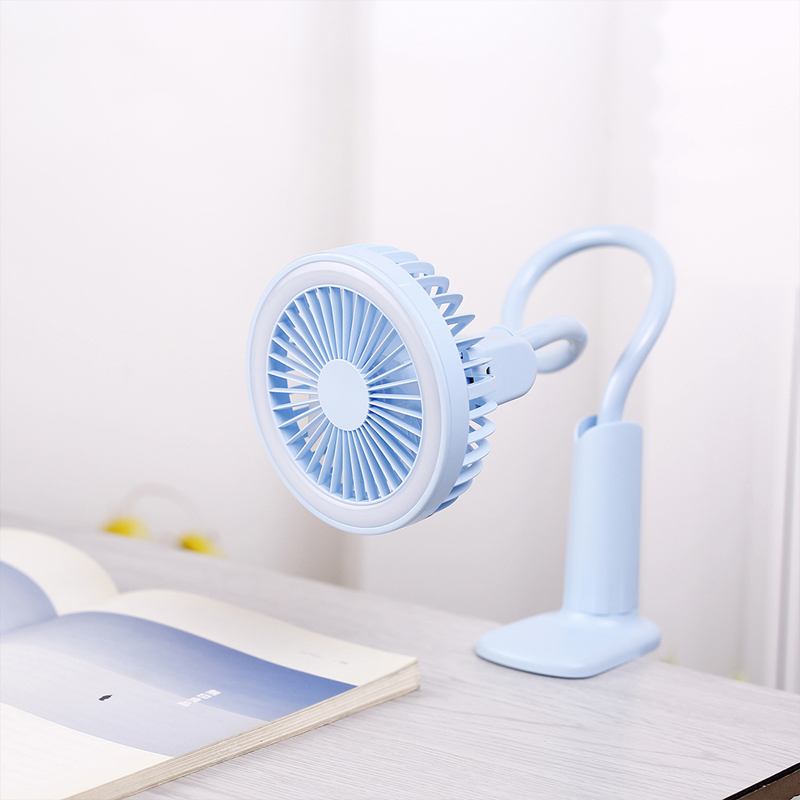 Portable USB Fan flexible with LED light 2 Speed Adjustable Cooler Mini Fan Handy Small Desk Desktop USB Cooling Fan for child(China)