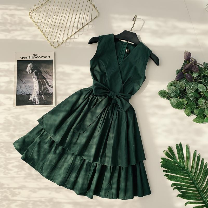 Korean Vintage Pure V Collar Sleeveless High Waist Bow Tie Double Ruffle Holiday Dress Women Vestidos E348 64