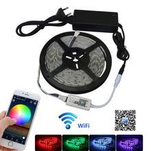 цены Jiawen 5M Waterproof IP65 RGBW / RGBWW LED Strip Light 5050 SMD 60LEDs/m + Wifi Controller By Phone APP + DC 12V Power Adapter