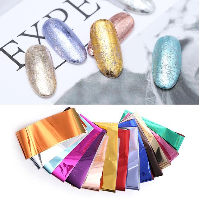 14Pcs/Kit Nail Foils Paper Silver Rose Gold Multicolor Metallic Stickers Nail Art Transfer Nail Decoration 19.5cm*4cm