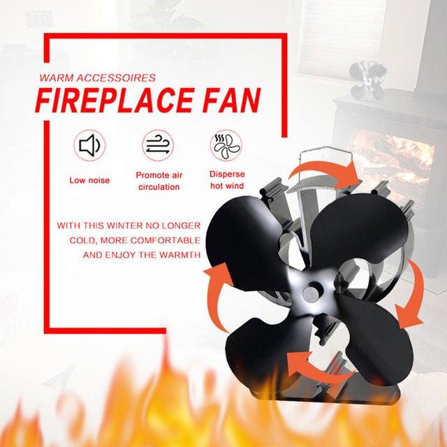 Super 4 bladen Warmte Aangedreven Eco Kachel Fan (Black) verhogen Meer TK25