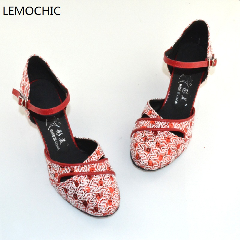 LEMOCHIC soft sole female models performance professional classical double steps latin tango ballroom kitten heels dancing shoe
