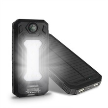 Wopow solar power bank 12000mah Mobile Phone Battery Charger External Power Bank backup Power Supply for Smartphone With Torch