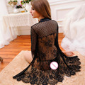 Женская Сна и Lounge Одеяния черное кружево одеяние горячих женщин белье Халаты