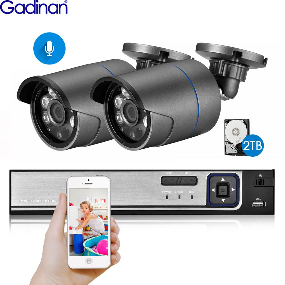 Gadinan H 265 5MP 2592 1944 Surveillance CCTV System 48V PoE 4CH NVR Kit SONY IMX335