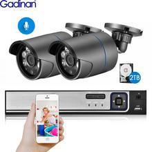 Gadinan H.265 5MP 2592*1944 Surveillance CCTV System 48V PoE 4CH NVR Kit Hi3516EV300 5MP 4MP 2MP Bullet Outdoor CCTV Camera Set