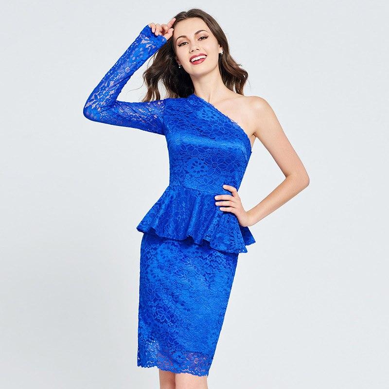 0558a1415b3 Tanpell одно плечо homecoming платья темно-Королевский синий цвет кружева  Мини Оболочка платье женщины коктейльное