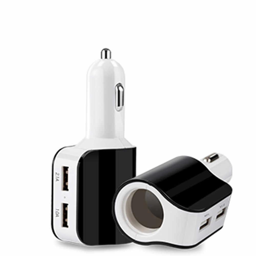 USB Car Charger Adapter with Cigarette Lighter Socket and Dual USB Charging Ports 17W 3.1A LED Power Indicators
