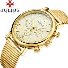 2016 Julius Relojes Para Hombre de Primeras Marcas de Lujo Banda De Malla De Acero Inoxidable Reloj de Hombre de Negocios de cuarzo reloj Masculino Del Relogio masculino 090