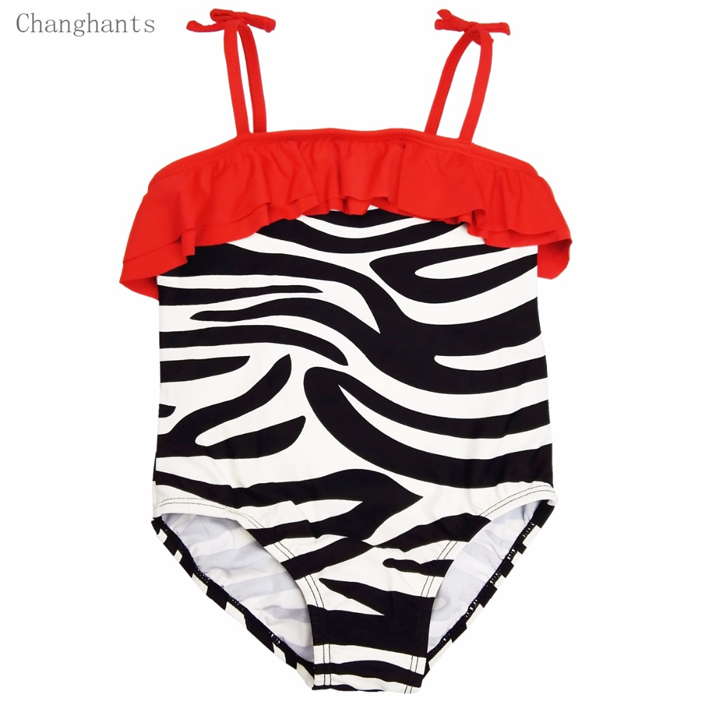 7d77ce2ef ... Girls Swimwear 2-7 Y Zebra Pattern with red Wrinkle Frills Kids One  Piece Swimsuit ...
