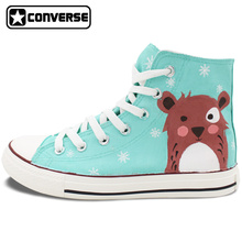 Hand Painted Converse All Star Shoes Women Men Original Design Snowflake Cartoon Bear High Top Canvas Sneakers for Gifts