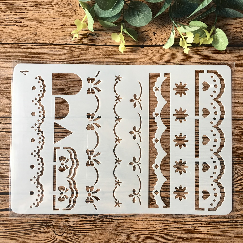 26cm Lace Flower Line Edge DIY Craft Layering Stencils Painting Scrapbooking Stamping Embossing Album Paper Card Template