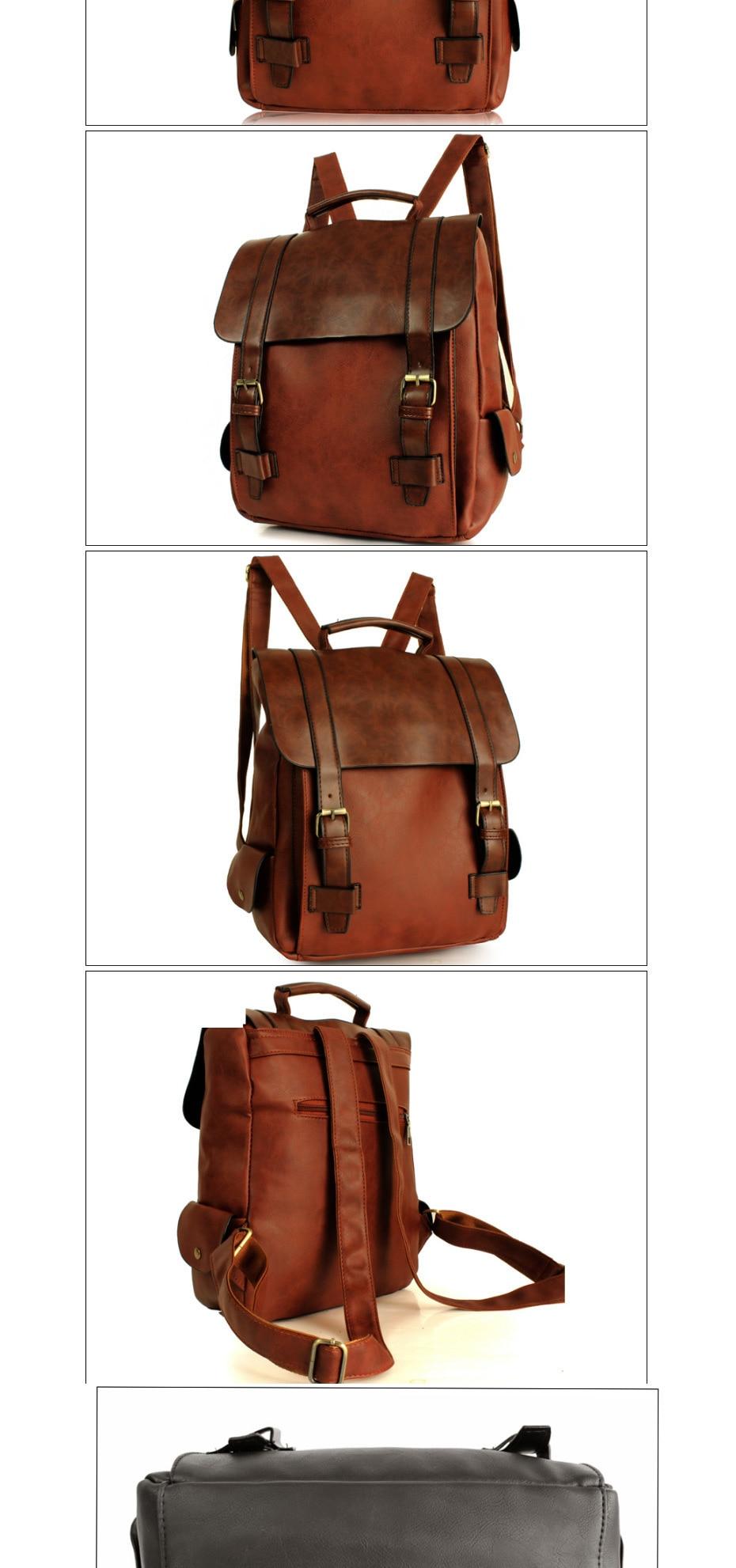 HTB1vTsWgTtYBeNjy1Xdq6xXyVXa1 - 2018 Fashion Women Leather School Vintage Backpack Men Small Schoolbag Mochila Feminina Brown Black Backpacks Kanken Sac A Dos