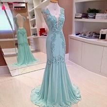 Mint Green Mermaid abendkleider sleeveless Sexy Tiefem V-ausschnitt Chiffon Prom Kleider elegante Formale Kleider Vestido De Festa Z704