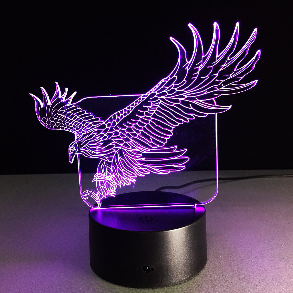 Eagle 3D Night Light Animal Lamp Remote Touch Swithc LED 7 Colors LED USB 3D Illusion Lamp For Home Decor As Kids Toy Gift