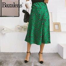 Bazaleas Винтаж модные Для женщин юбка Высокая Талия Миди-юбки, с длинными рукавами, тонкая зеленый принт Для женщин сексуальная женская одежда юбки сексуальные Повседневное Перевозка груза падения