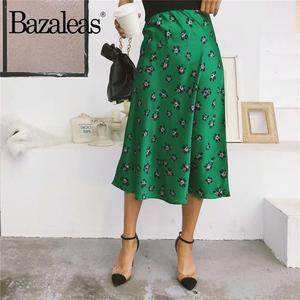 Bazaleas Midi Skirts Print Slim Vintage High-Waist Green Floral Fashion Sexy Casual