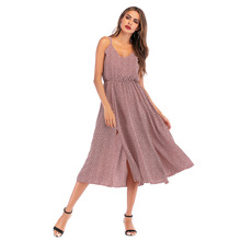 Summer hot new pleated high waist sling loose open back dress sexy fashion personality printed casual women's dress open back scallop edge boxed pleated cami dress