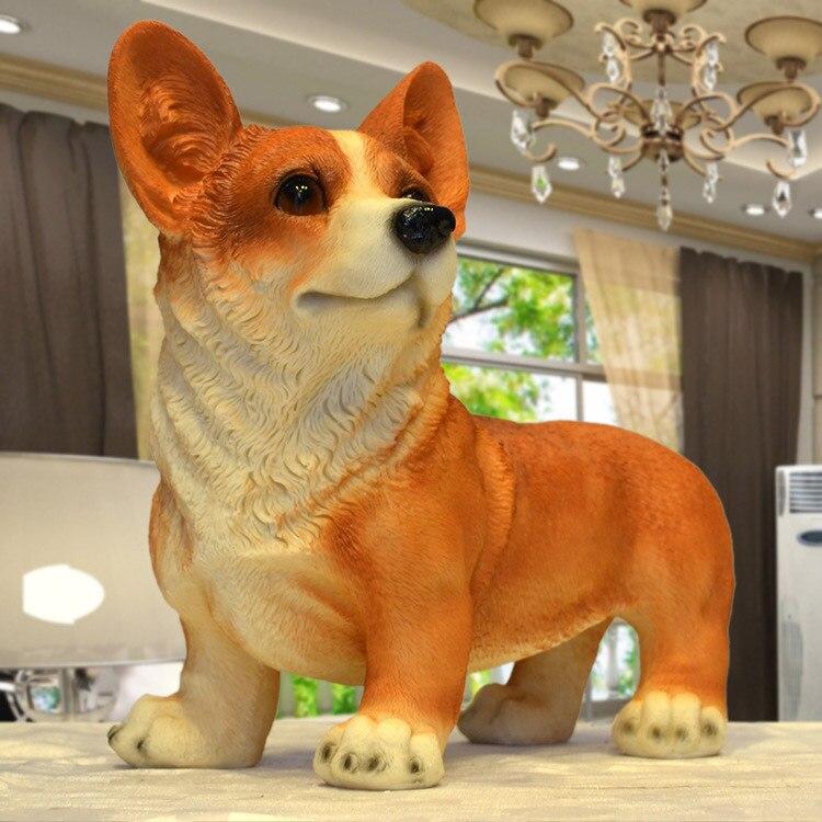 Resin Corgi Dog Figurines Modern Decoration Lucky Resin Craft Corgi Standing Polyresin Home And Garden Decoration