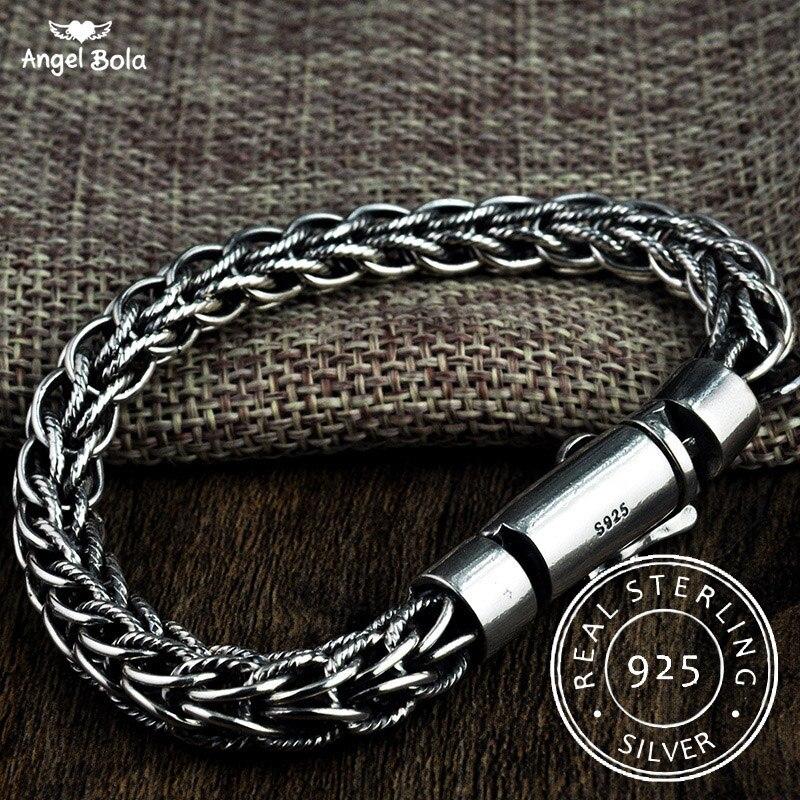 925 bijoux en argent Sterling bouddha bracelets pour femme hommes Vintage S925 largeur Thai argent chaîne bracelets à breloques et bracelets