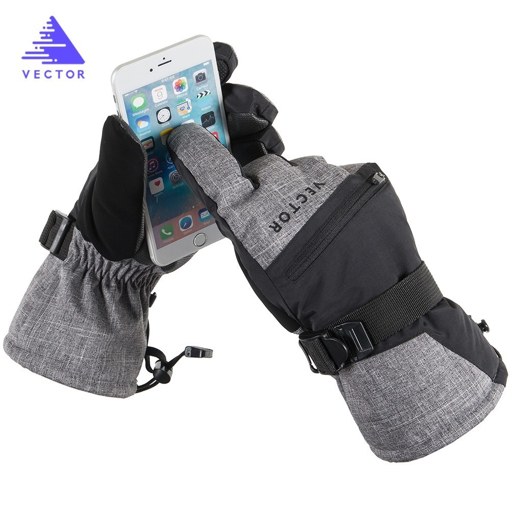 Ski Heated Gloves Waterproof Men Adult Skiing Snowboard Snowmobile Tool Accessories Winter Snow Overall Touch Screen Card Pocket