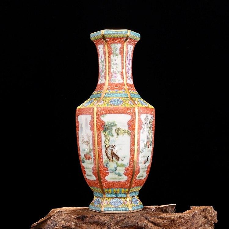 Qing Yong Zheng Enamel Gold Chinese Zodiac Hexagon Vase Jingdezhen Antique Porcelain Collection Of Antique Retro Ornaments vase