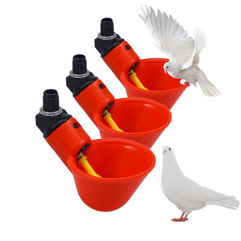 Chicken Nipple Water Spigot For Bucket Waterer Poultry Screw In Red 1x Quail