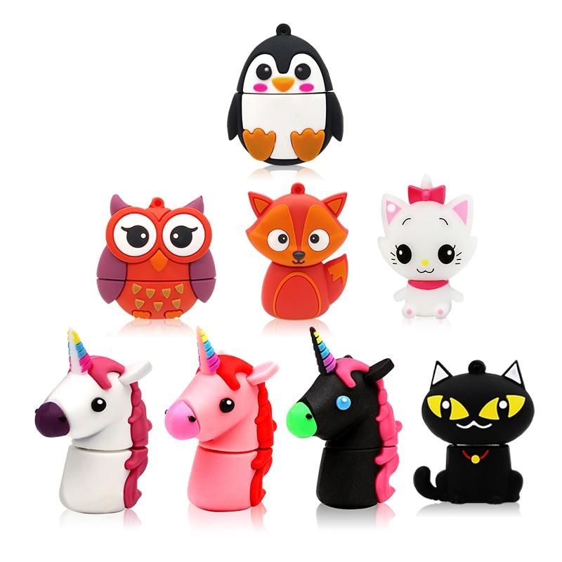Hearty E2l Unicorn Funny Cartoon Usb Flash Drive 128 Gb Usb Animal Pendrive 16 Gb Flash Memory Usb 2.0 Menoria Usb 32gb Pen Drive 64gb Usb Flash Drives