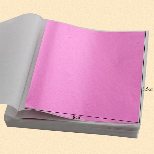 100PCS Pink Color Leaf ,shiny Imitation Gold Leaf, 8X8.5cm ,alloy Foil