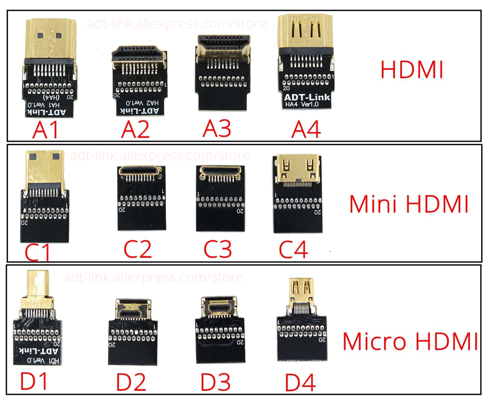 Купить с кэшбэком Micro HDMI D-Type Mini HDMI C-Type HDMI A-type Connector Converter Adapter Cable Up & Down & Right & Left Angle Male to Male