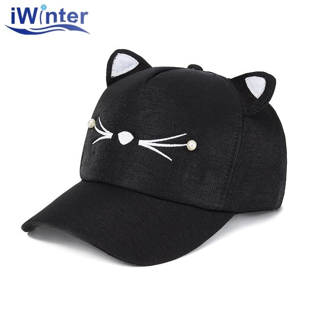 cc8f82496 IWINTER Fashion Baseball Cap Cat Ears Unisex Baseball Hats Cap Leisure Sport  Cap For Men Women
