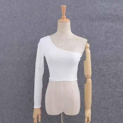 Off Shoulder Sexy Vrouwelijke Gebreide Crop Top Vrouwen Wit Zwart Tops Streetwear Elastische Korte T-shirt Breien Cropped Camis Tees
