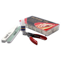500 sztuk Tipsy Gorąca Sprzedaż Biały Francuski Naturalne Tipsy DIY Nail Art Salon z Klejem Clipper Cutter Szlifowanie Plik Pliki paskiem