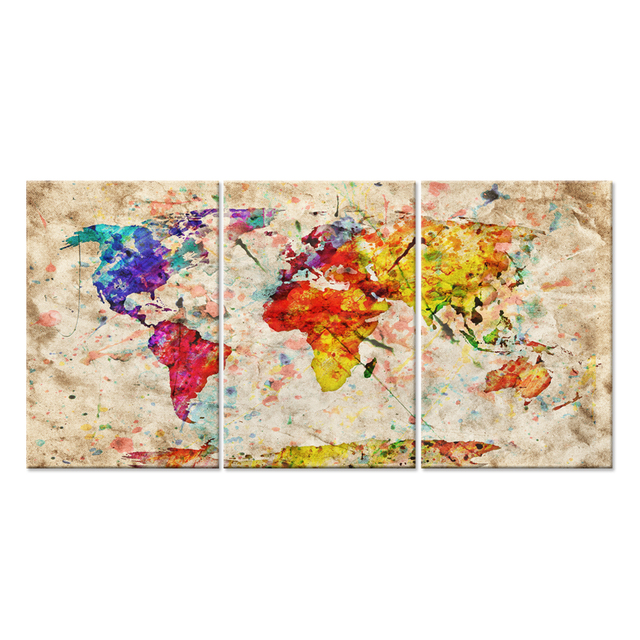 Modern Gallery Artwork WORLD MAP IN WATERCOLOR With Natural Color Canvas Art  Print Large Abstract Wall