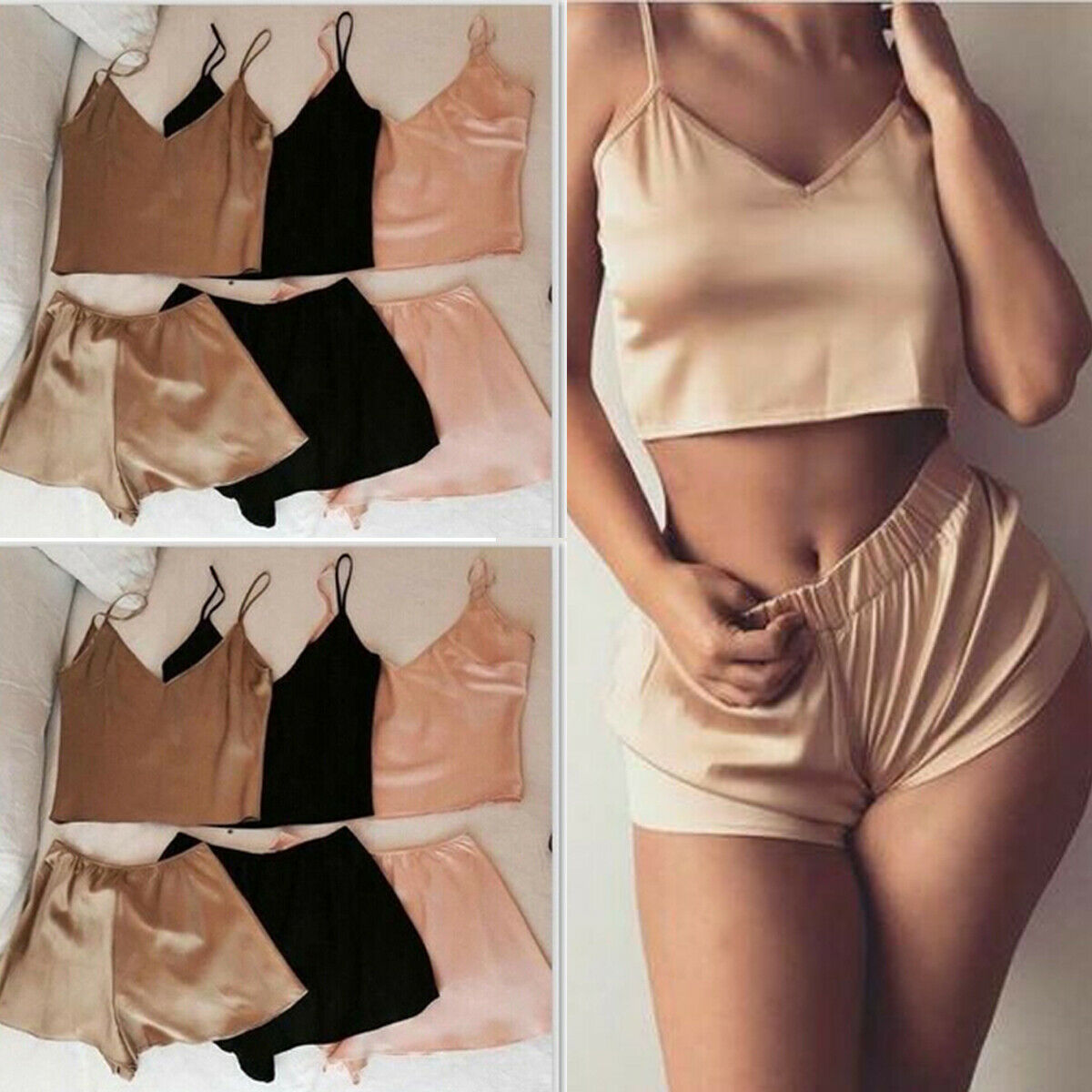2Pcs Women Sexy Satin Lace Pajamas Sleepwear Babydoll Sleeveless V-Neck Tanks Tops Shirts Short Pants Solid Pajamas Set