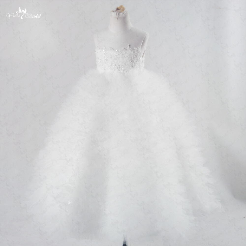 FG46 Ivory Lace   Flower     Girl     Dress   Puffy Pageant   Dresses   First Communion   Dresses   For   Girls