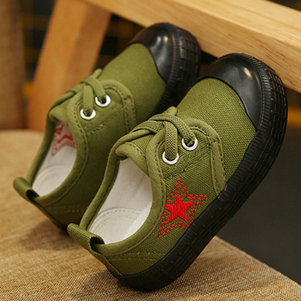 Toddler Boy Girl Canvas Sneaker Little Kid Camouflage Green Red Star Brand Trainer Big Children Sport Skate School Fashion Shoes