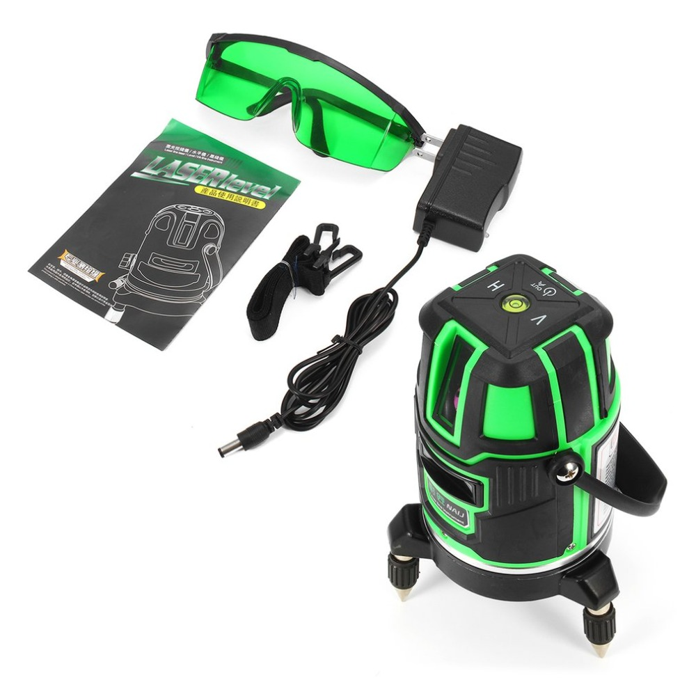 HOT 360 Degrees Laser Level Shock-proof Cross Green Lines Automatic Self-Leveling Measure Tool Set AC or DC Dual Use self dual z4 modules