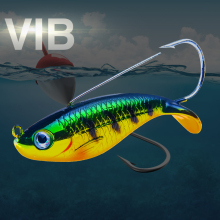 Купить с кэшбэком HAODIAOZHE Jig VIB Fishing Lure Crankbait Single hook Artificial Bait 7.5cm 21g Lifelike Swim Wobblers Laser Body Live Fish YU16